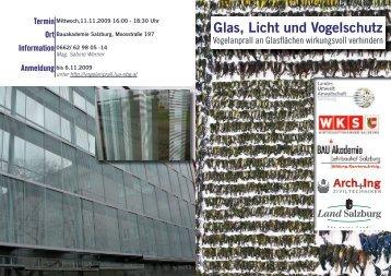 Glas, Licht und Vogelschutz - Landesumweltanwaltschaft Salzburg