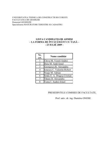 Lista candidatilor admisi la studii cu taxa - Admitere UTCB