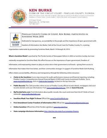 Clerk promotes Sunshine Week 2010 - Clerk of the Circuit Court