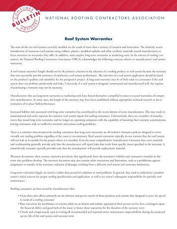 Roof System Warranties - National Roofing Contractors Association