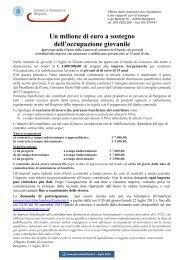 Un milione di euro a sostegno dell'occupazione giovanile
