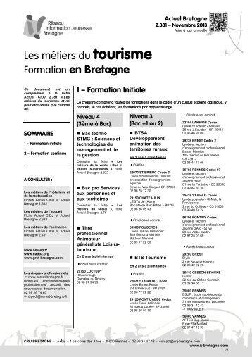 Les métiers du tourisme Formation en Bretagne - CRIJ Bretagne
