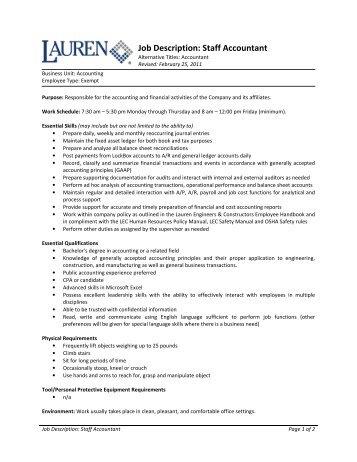 Job Description: Staff Accountant   Lauren Engineers U0026 Constructors
