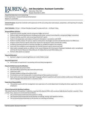 Job Description: Assistant Controller   Lauren Engineers .  Assistant Controller Job Description
