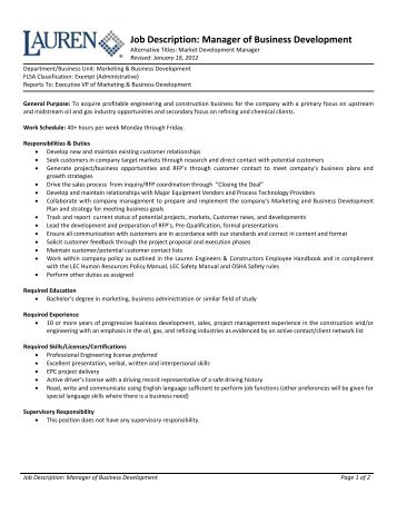 Program Development Job Description