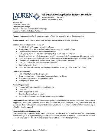 JOB DESCRIPTION Post title: Purpose: TECHNICIAN To support the ...