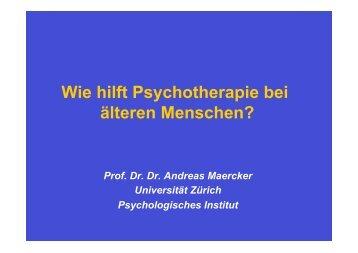 Wie hilft Psychotherapie bei älteren Menschen? - Forum Gesundheit ...