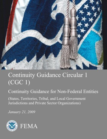 Continuity Guidance Circular 1 - Federal Emergency Management ...