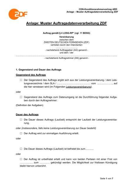 Anlage Muster Auftragsdatenverarbeitung Zdf Wdrde
