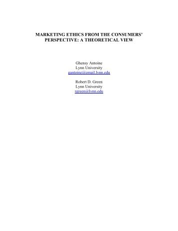 MARKETING ETHICS FROM THE CONSUMERS' PERSPECTIVE: A ...