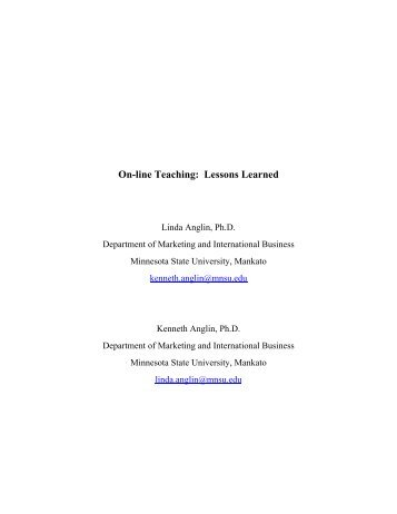 On-line Teaching: Lessons Learned - OnLine Course Material - Dr ...