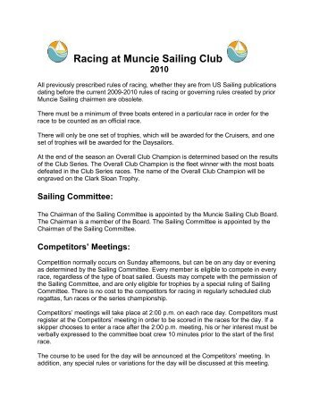 Basic Racing Rules of the Club Race Series