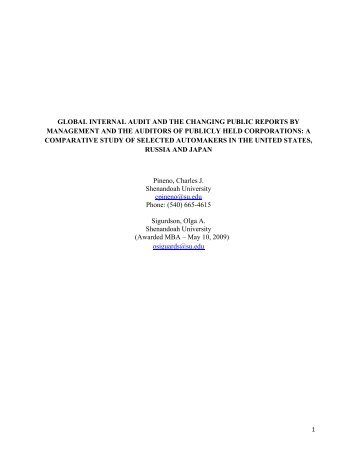 global internal audit and the changing public reports by ...