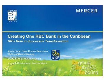Creating One RBC Bank in the Caribbean - Mercer Signature Events