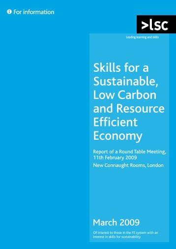 Skills for a Sustainable, Low Carbon and Resource Efficient Economy