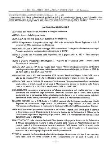 21-11-2011 - BOLLETTINO UFFICIALE DELLA ... - Comune di Alatri