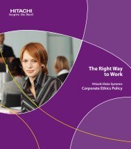 Hitachi Data Systems Corporate Ethics Policy