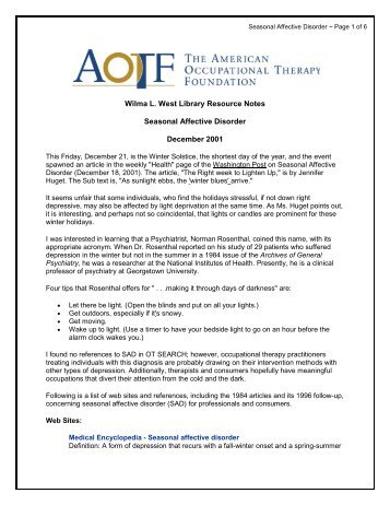 Seasonal Affective Disorder - American Occupational Therapy ...
