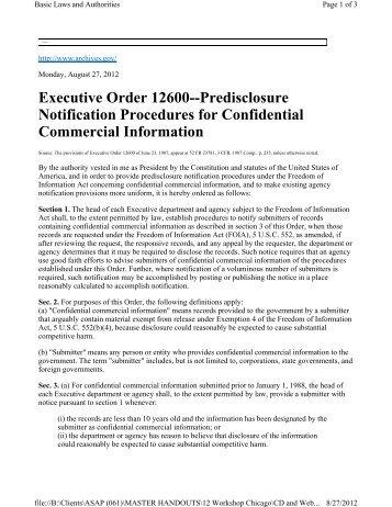 Exemption 4 - EO 12600