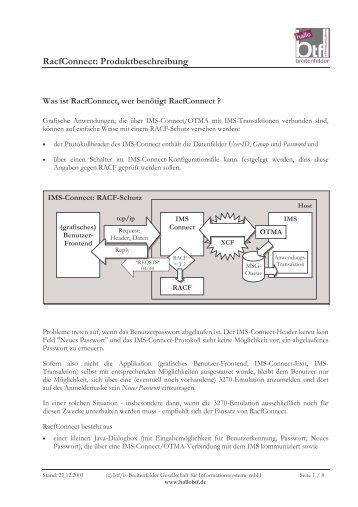 RacfConnect: Produktbeschreibung - hallobtf!