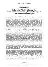 Co-Investor AG - EVP Capital Management AG