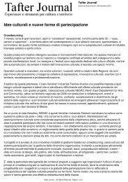 Idee culturali e nuove forme di partecipazione - Tafter Journal