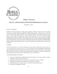 Travel and Business Expense Reimbursement Policy - Berea College