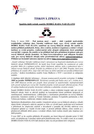 Spuštěn další ročník soutěže DOBRÁ RADA NAD ZLATO - Národní ...