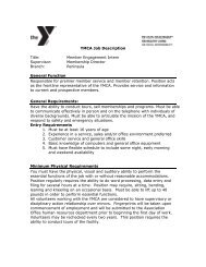 YMCA Job Description Title: Member Engagement Intern Supervisor ...