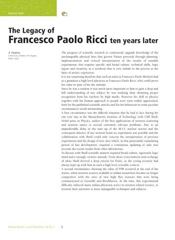 Legacy of Francesco Paolo Ricci ten years later by A. Paoletti