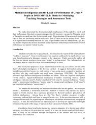 Multiple Intelligences and the Level of Performance of ... - EISRJC