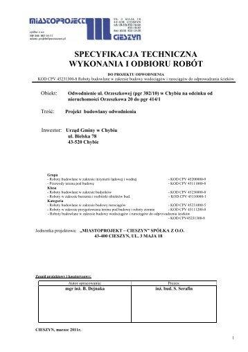 specyfikacja techniczna wykonania i odbioru robót - Chybie