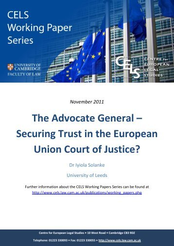 The Advocate General – Securing Trust in the European ... - CELS