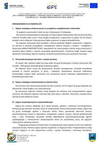 Sprawozdanie - III kwartal sp1 - Ośrodek Edukacji w Bieruniu - Bieruń