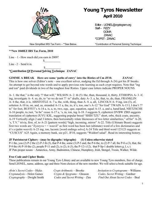Professional Letter   American Cryptogram Association