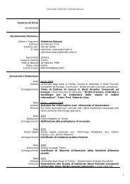 Curriculum Vitae Dott. Valentina Moscon 09/09/2009 Nome e ...