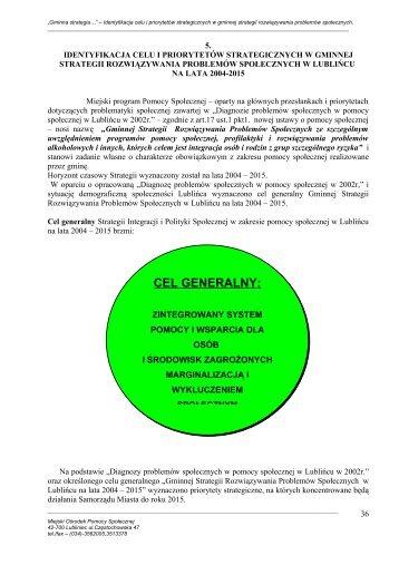 identyfikacja celu i priorytetów strategicznych w ... - MOPS Lubliniec