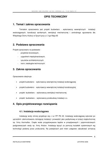 OPIS TECHNICZNY 1. Temat i zakres opracowania 2. Podstawa ...