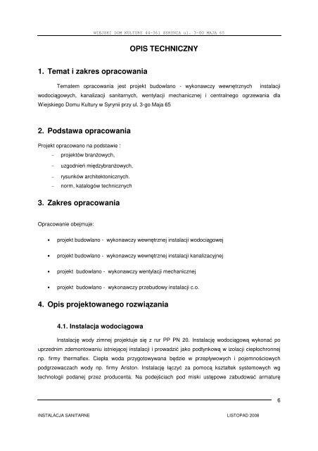 Opis Techniczny 1 Temat I Zakres Opracowania 2 Podstawa
