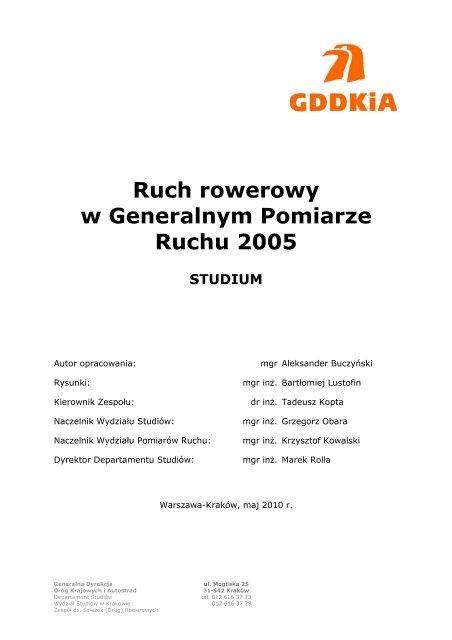 Ruch rowerowy w Generalnym Pomiarze Ruchu 2005 - Generalna ...