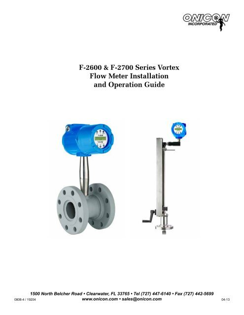F 2600 Vortex Flow Meter Manual Onicon Incorporated