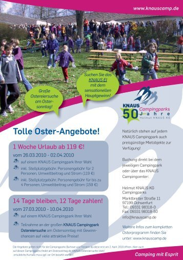 Tolle Oster-Angebote! - Knaus Campingparks