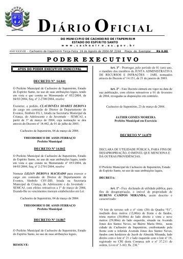 Diário Oficial nº 2.248 - 24 de agosto (Terça-feira) - 44Kb