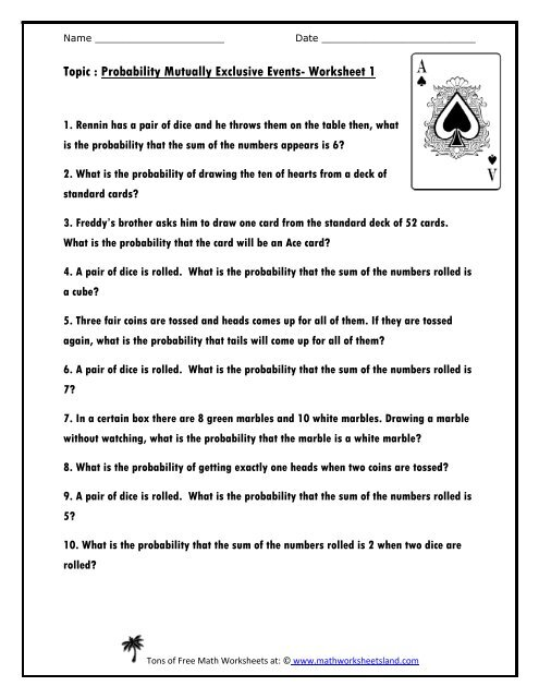 Probability Mutually Exclusive Events Five Worksheet Pack - Math ...