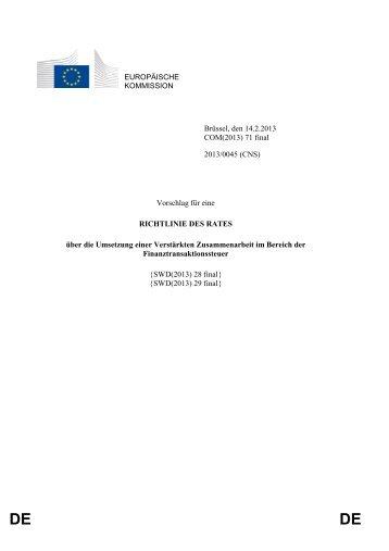Vorschlag der Kommission für eine Finanztransaktionssteuer - Europa