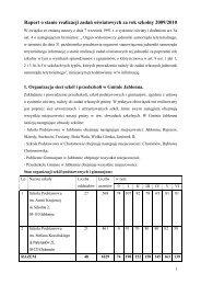 Raport o stanie realizacji zadań oświatowych za rok szkolny 2009 ...