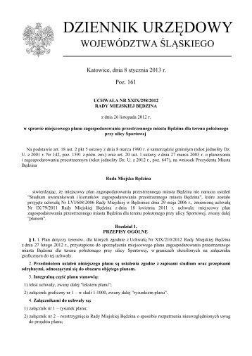 Uchwała Nr XXIX/298/2012 z dnia 26 listopada 2012 r. - Plany ...