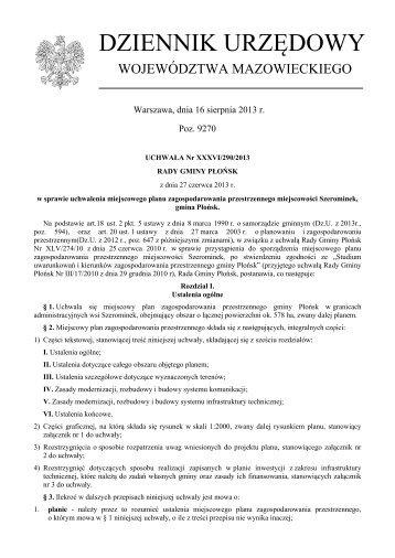 Uchwała Nr XXXVI/290/2013 z dnia 27 czerwca 2013 r. - Plany ...