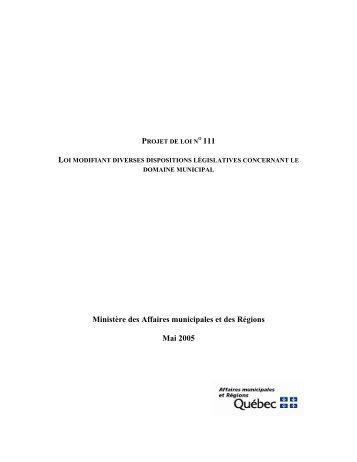 Amendements proposés au projet de loi no 111 - Affaires ...