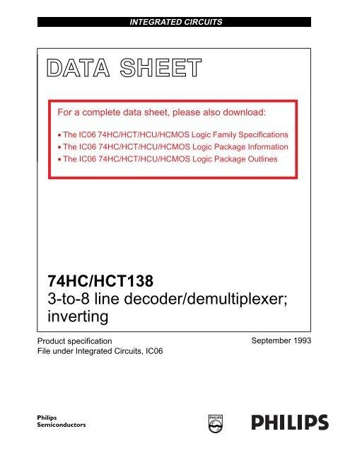 Hct138 datasheet,datasheets manu page:3==3-to-8 line decoder.